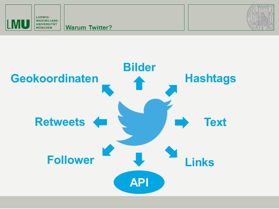 Warum Twitter? Text Bilder Links Follower Retweets Hashtags Geokoordinaten API