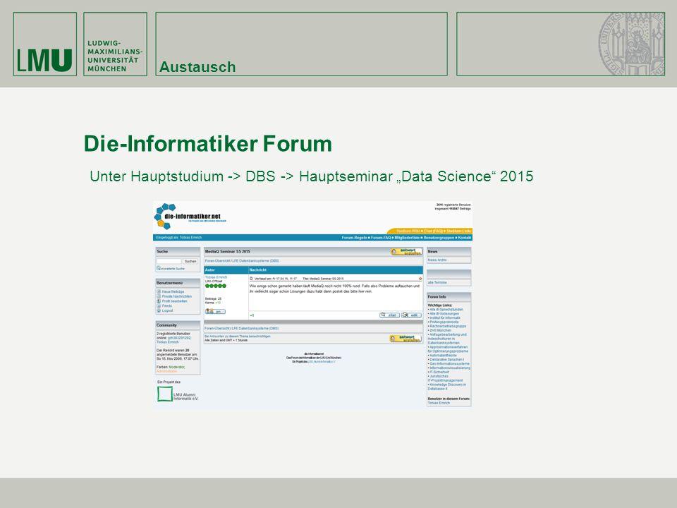 """Austausch Die-Informatiker Forum Unter Hauptstudium -> DBS -> Hauptseminar """"Data Science 2015"""