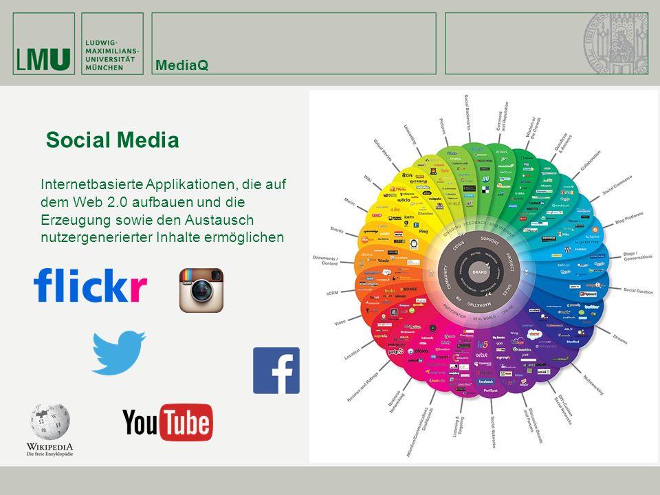MediaQ Social Media Internetbasierte Applikationen, die auf dem Web 2.0 aufbauen und die Erzeugung sowie den Austausch nutzergenerierter Inhalte ermöglichen