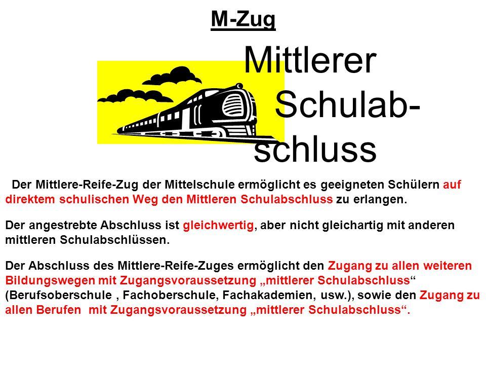 M-Zug Mittlerer Schulab- schluss Der Mittlere-Reife-Zug der Mittelschule ermöglicht es geeigneten Schülern auf direktem schulischen Weg den Mittleren
