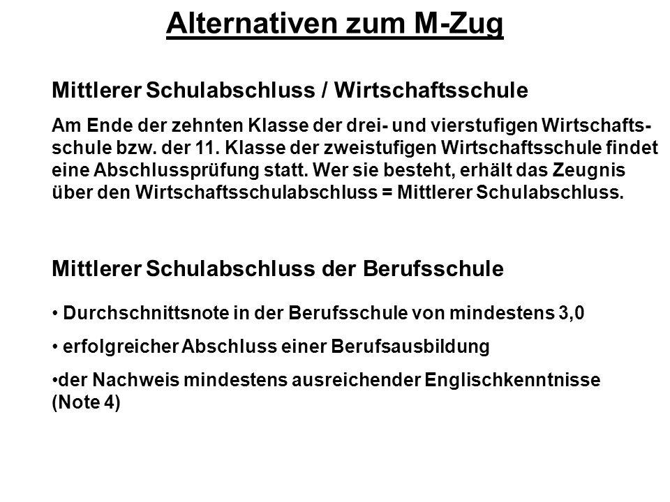 Alternativen zum M-Zug Mittlerer Schulabschluss / Wirtschaftsschule Am Ende der zehnten Klasse der drei- und vierstufigen Wirtschafts- schule bzw. der