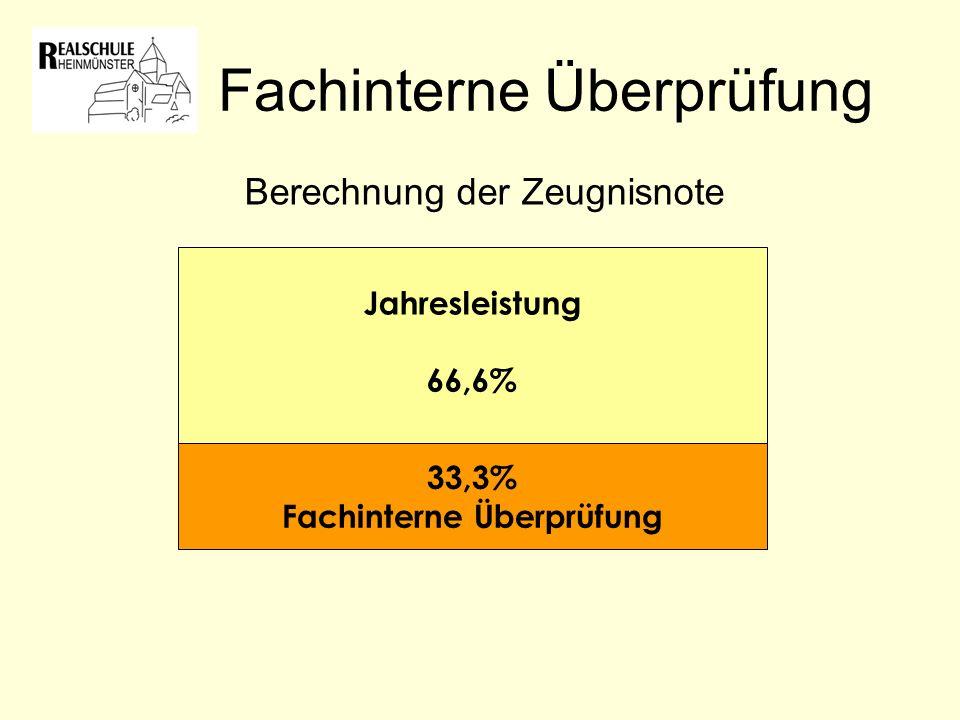 Fachinterne Überprüfung Jahresleistung 66,6% 33,3% Fachinterne Überprüfung Berechnung der Zeugnisnote