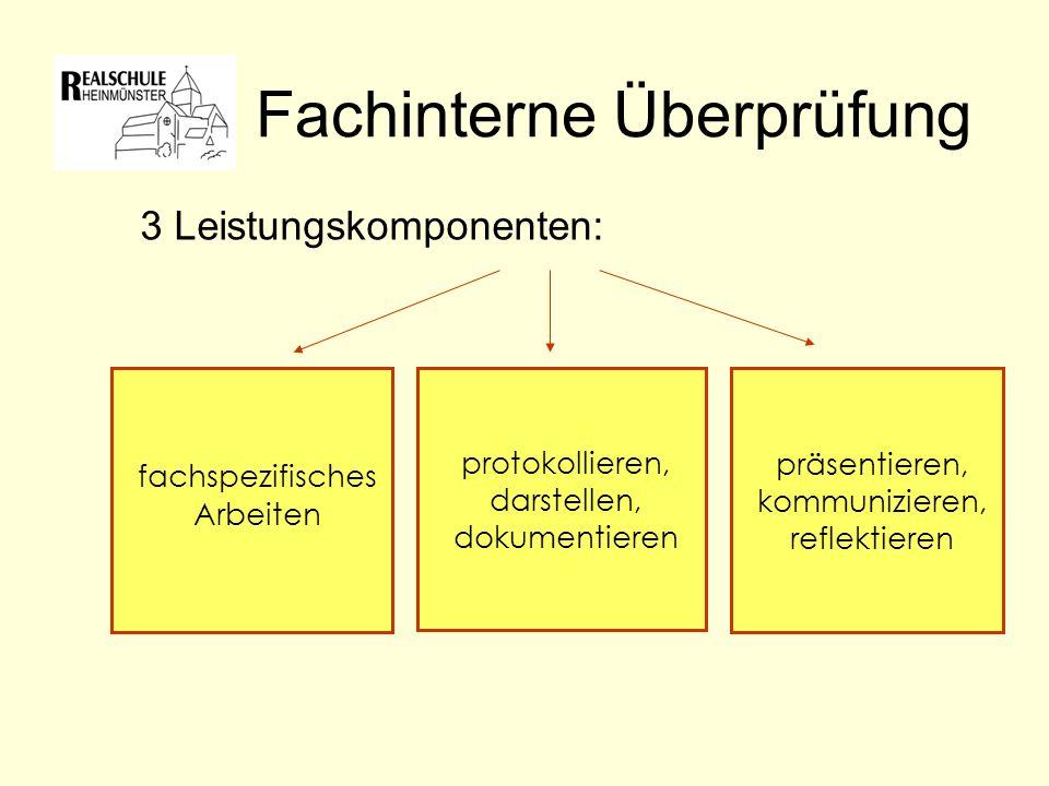 Fachinterne Überprüfung 3 Leistungskomponenten: fachspezifisches Arbeiten protokollieren, darstellen, dokumentieren präsentieren, kommunizieren, reflektieren