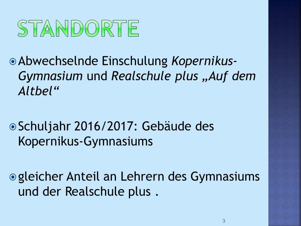 """ Abwechselnde Einschulung Kopernikus- Gymnasium und Realschule plus """"Auf dem Altbel""""  Schuljahr 2016/2017: Gebäude des Kopernikus-Gymnasiums  gleic"""