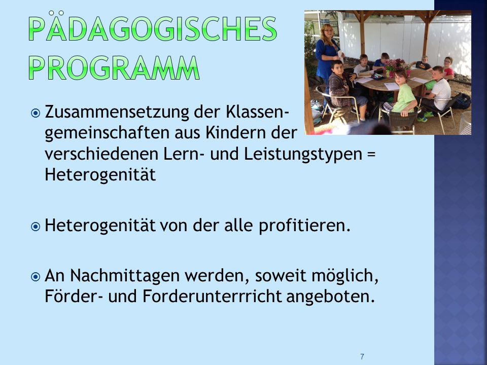  Zusammensetzung der Klassen- gemeinschaften aus Kindern der verschiedenen Lern- und Leistungstypen = Heterogenität  Heterogenität von der alle profitieren.