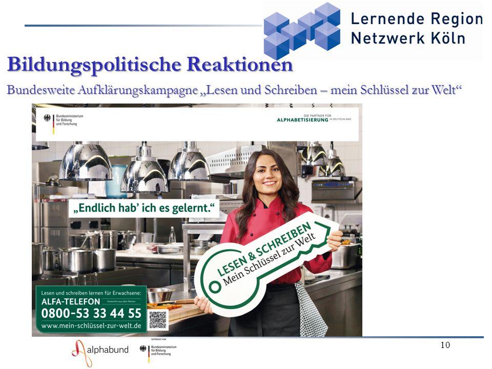 """10 Bildungspolitische Reaktionen Bundesweite Aufklärungskampagne """"Lesen und Schreiben – mein Schlüssel zur Welt"""""""