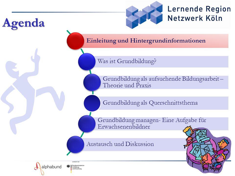 Einleitung und Hintergrundinformationen Was ist Grundbildung? Grundbildung als aufsuchende Bildungsarbeit – Theorie und Praxis Grundbildung als Quersc