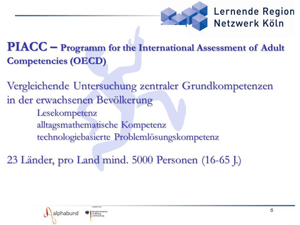6 PIACC – Programm for the International Assessment of Adult Competencies (OECD) Vergleichende Untersuchung zentraler Grundkompetenzen in der erwachsenen Bevölkerung Lesekompetenz alltagsmathematische Kompetenz technologiebasierte Problemlösungskompetenz 23 Länder, pro Land mind.