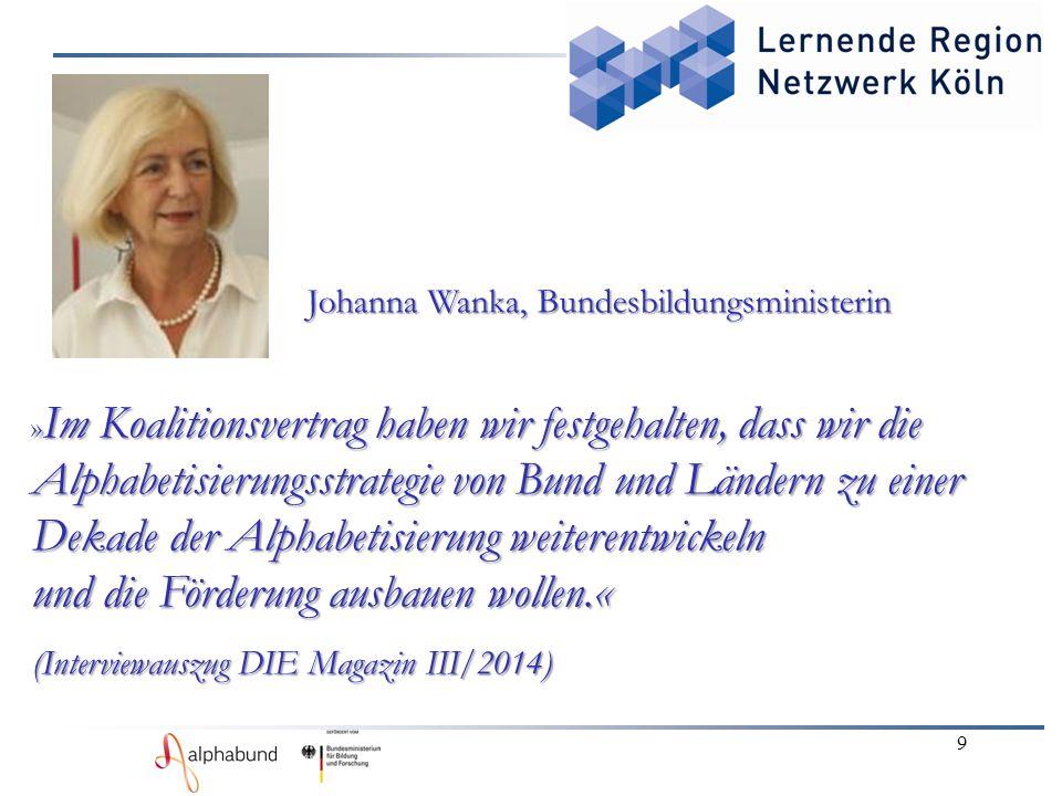 9 Johanna Wanka, Bundesbildungsministerin Johanna Wanka, Bundesbildungsministerin » Im Koalitionsvertrag haben wir festgehalten, dass wir die Alphabet