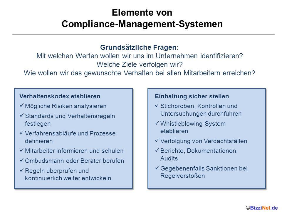 Elemente von Compliance-Management-Systemen Grundsätzliche Fragen: Mit welchen Werten wollen wir uns im Unternehmen identifizieren? Welche Ziele verfo