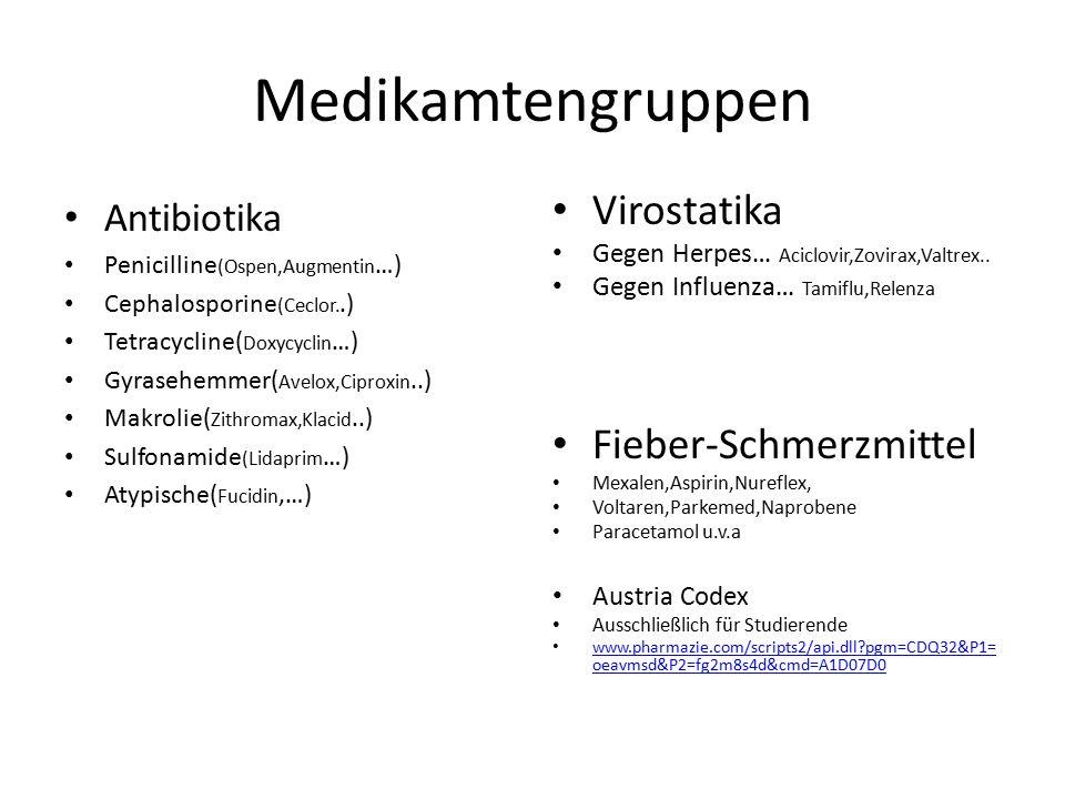 Medikamtengruppen Antibiotika Penicilline (Ospen,Augmentin …) Cephalosporine (Ceclor..) Tetracycline( Doxycyclin …) Gyrasehemmer( Avelox,Ciproxin..) Makrolie( Zithromax,Klacid..) Sulfonamide (Lidaprim …) Atypische( Fucidin,…) Virostatika Gegen Herpes… Aciclovir,Zovirax,Valtrex..