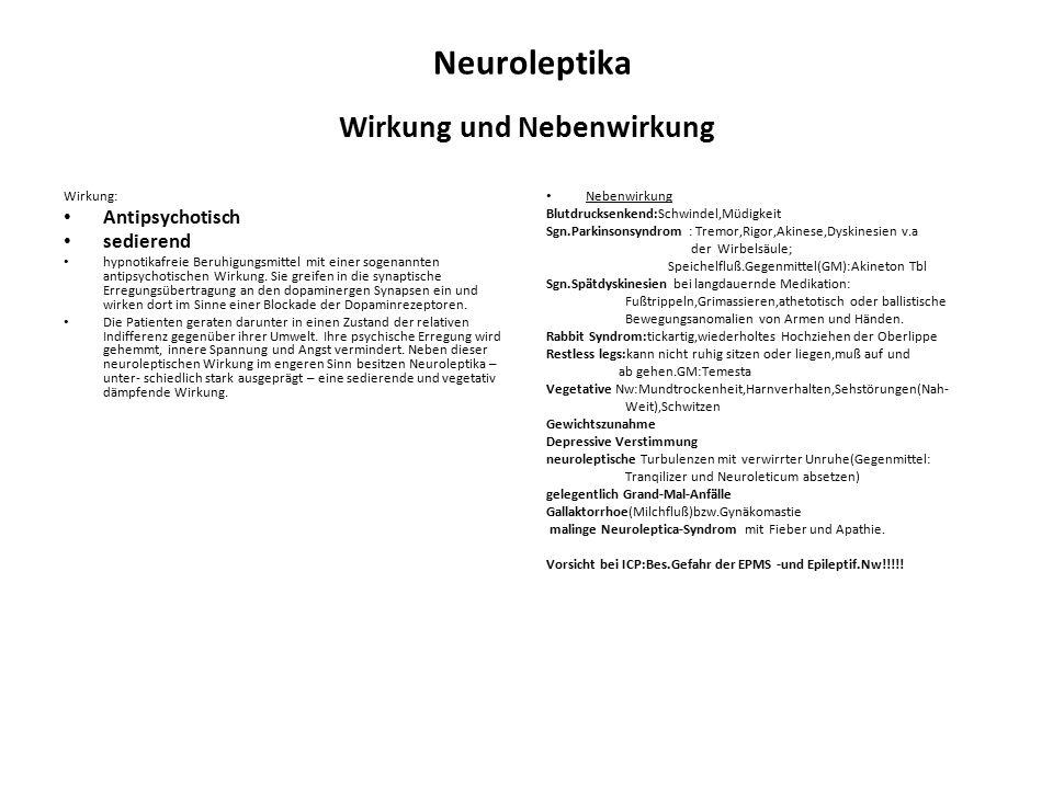 Neuroleptika Wirkung und Nebenwirkung Wirkung: Antipsychotisch sedierend hypnotikafreie Beruhigungsmittel mit einer sogenannten antipsychotischen Wirk