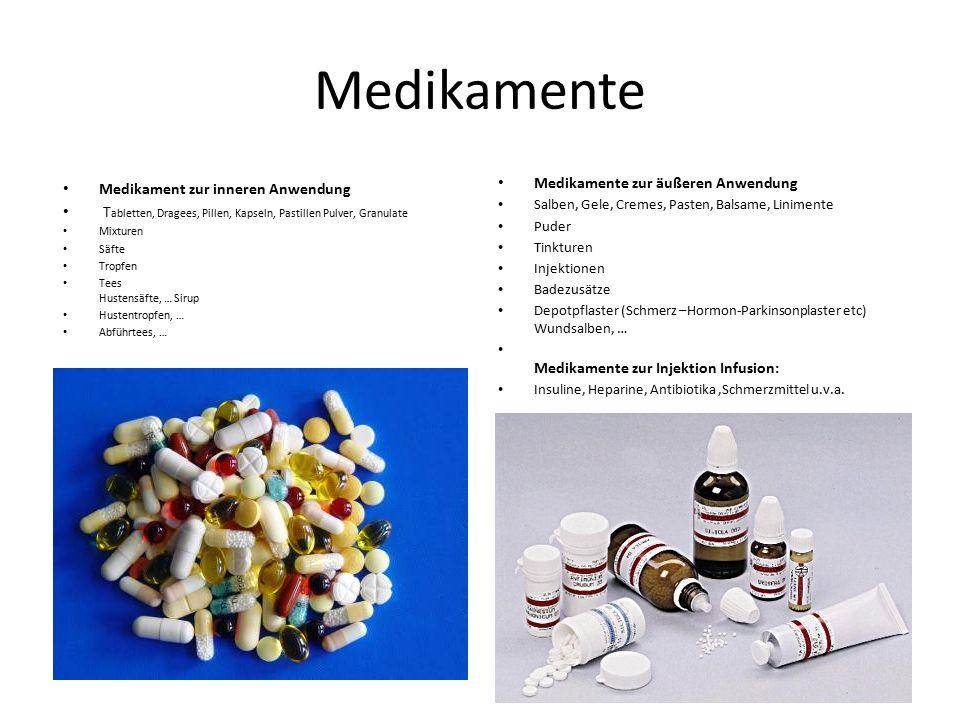 Medikamente Medikament zur inneren Anwendung T abletten, Dragees, Pillen, Kapseln, Pastillen Pulver, Granulate Mixturen Säfte Tropfen Tees Hustensäfte