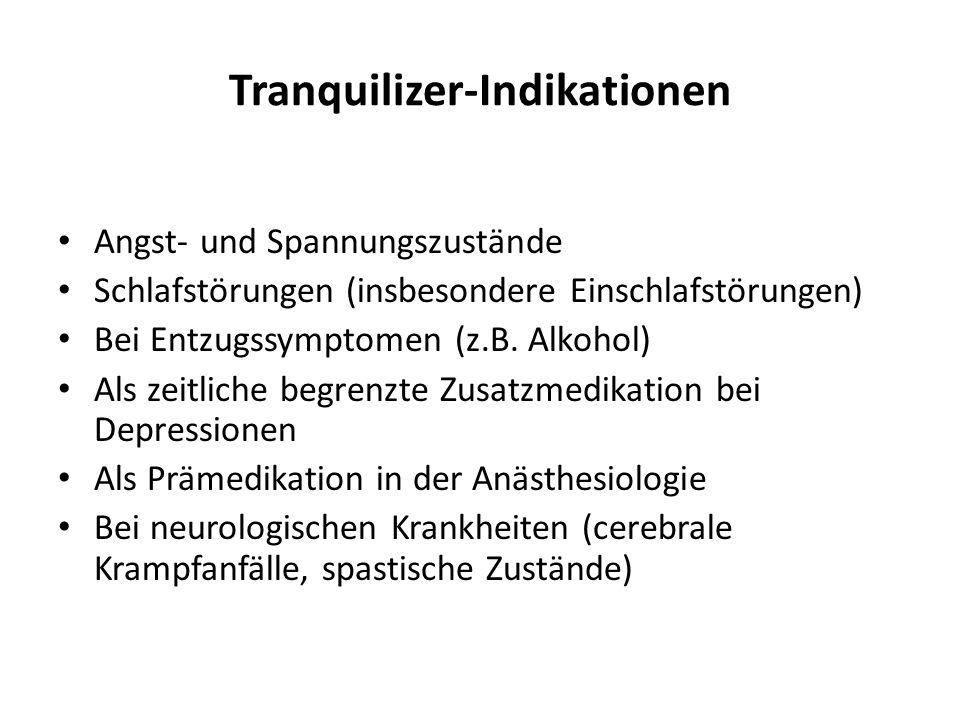 Tranquilizer-Indikationen Angst- und Spannungszustände Schlafstörungen (insbesondere Einschlafstörungen) Bei Entzugssymptomen (z.B. Alkohol) Als zeitl