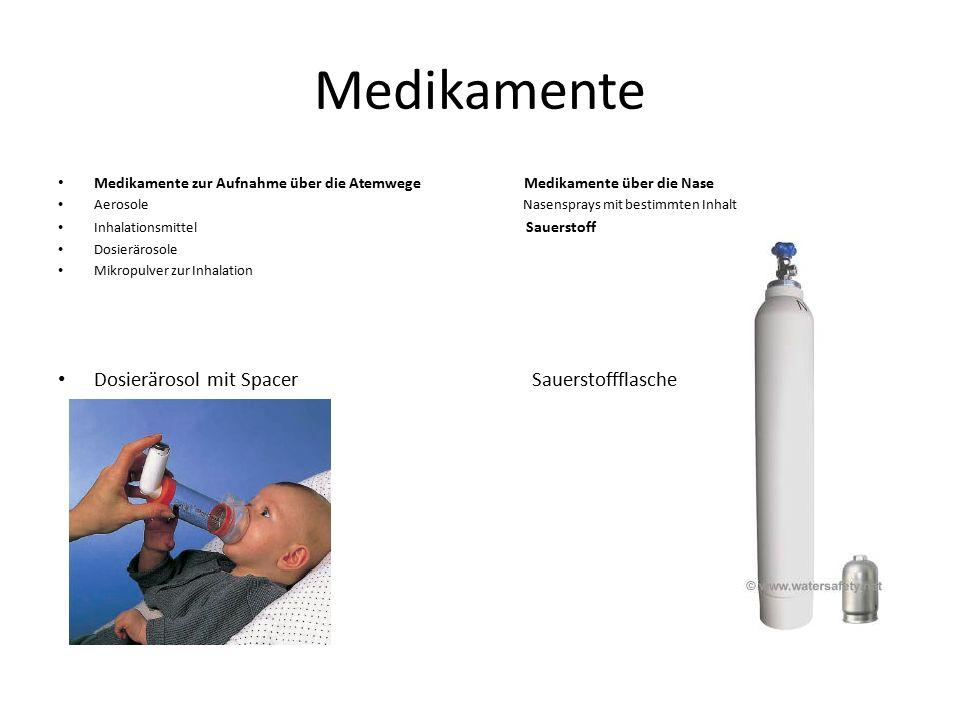Medikamente Medikamente zur Aufnahme über die Atemwege Medikamente über die Nase Aerosole Nasensprays mit bestimmten Inhalt Inhalationsmittel Sauersto