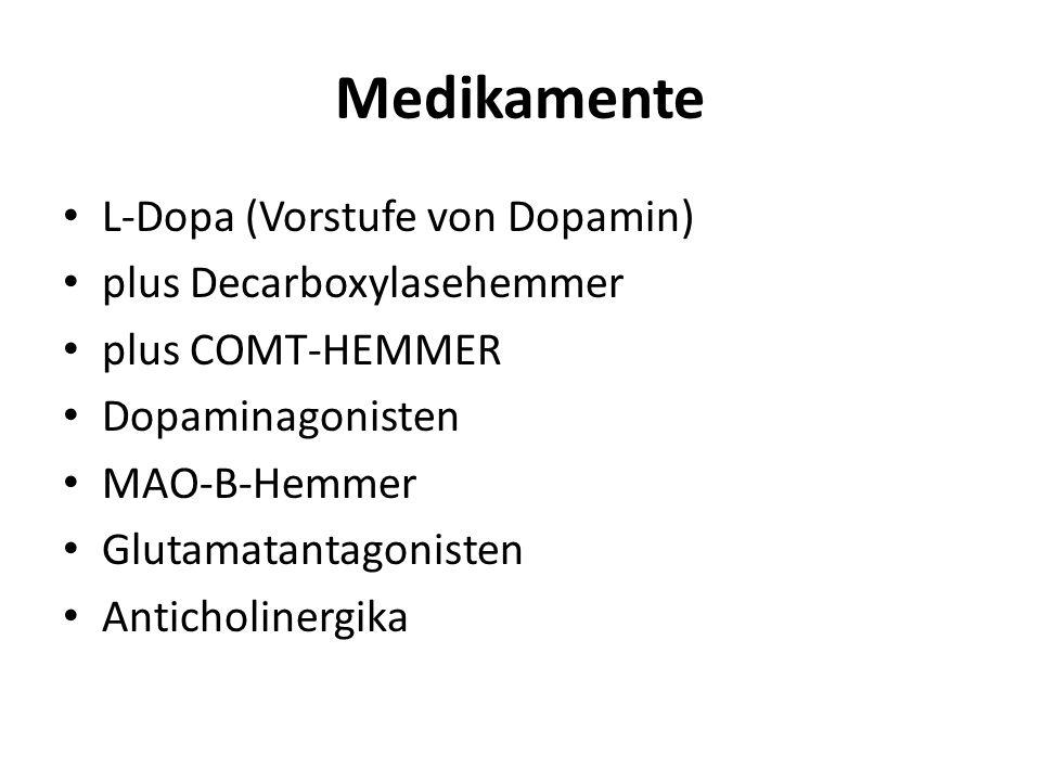 Medikamente L-Dopa (Vorstufe von Dopamin) plus Decarboxylasehemmer plus COMT-HEMMER Dopaminagonisten MAO-B-Hemmer Glutamatantagonisten Anticholinergik