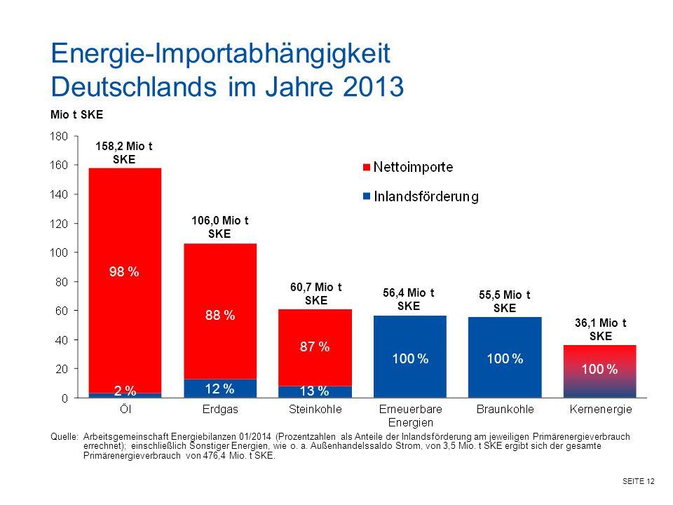 SEITE 12 Quelle:Arbeitsgemeinschaft Energiebilanzen 01/2014 (Prozentzahlen als Anteile der Inlandsförderung am jeweiligen Primärenergieverbrauch errechnet); einschließlich Sonstiger Energien, wie o.