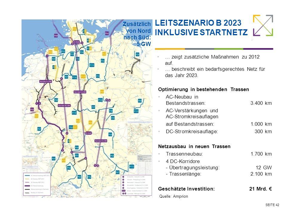 SEITE 42 LEITSZENARIO B 2023 INKLUSIVE STARTNETZ … zeigt zusätzliche Maßnahmen zu 2012 auf.