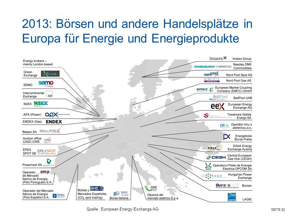 SEITE 52 2013: Börsen und andere Handelsplätze in Europa für Energie und Energieprodukte Quelle:European Energy Exchange AG