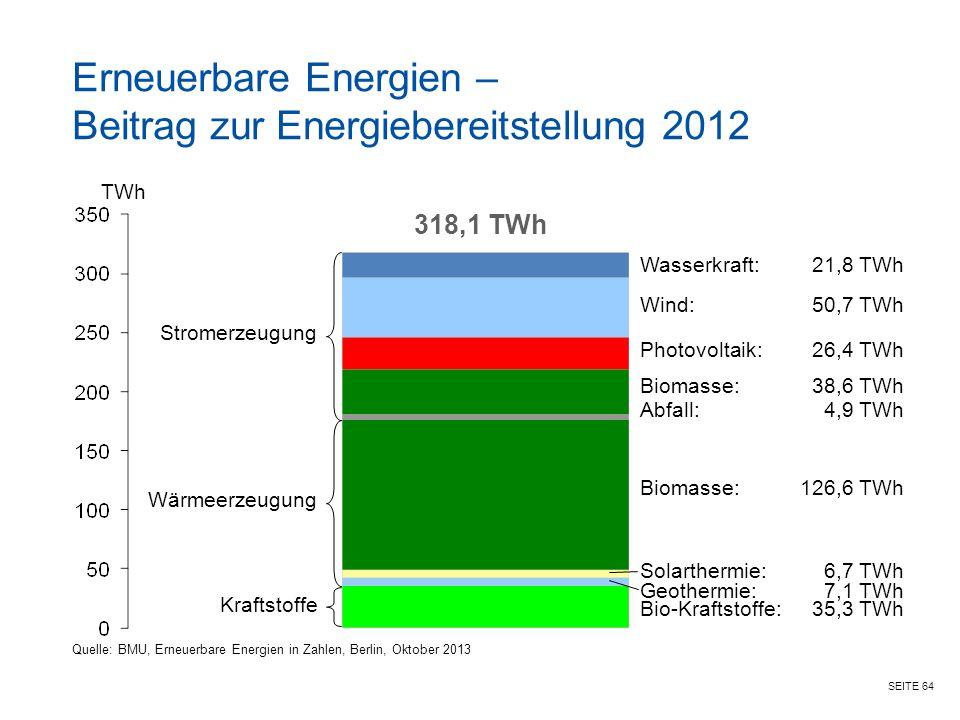 SEITE 64 Erneuerbare Energien – Beitrag zur Energiebereitstellung 2012 Solarthermie:6,7 TWh TWh 318,1 TWh Wasserkraft:21,8 TWh Bio-Kraftstoffe:35,3 TWh Geothermie:7,1 TWh Biomasse:126,6 TWh Abfall:4,9 TWh Biomasse:38,6 TWh Photovoltaik:26,4 TWh Wind:50,7 TWh Stromerzeugung Wärmeerzeugung Kraftstoffe Quelle: BMU, Erneuerbare Energien in Zahlen, Berlin, Oktober 2013