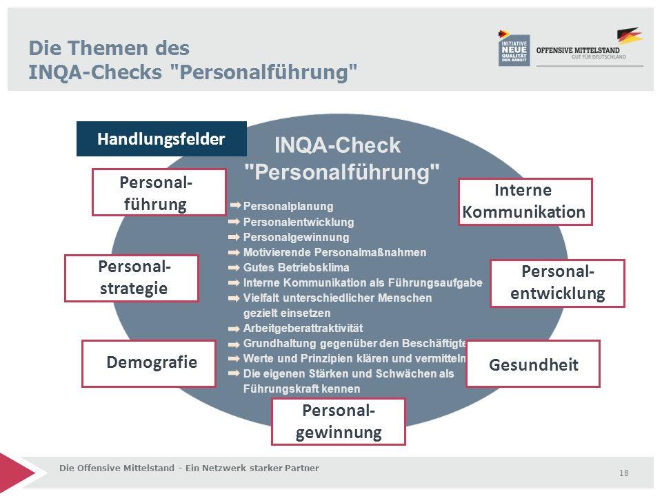18 Die Offensive Mittelstand - Ein Netzwerk starker Partner Personalplanung Personalentwicklung Personalgewinnung Motivierende Personalmaßnahmen Gutes