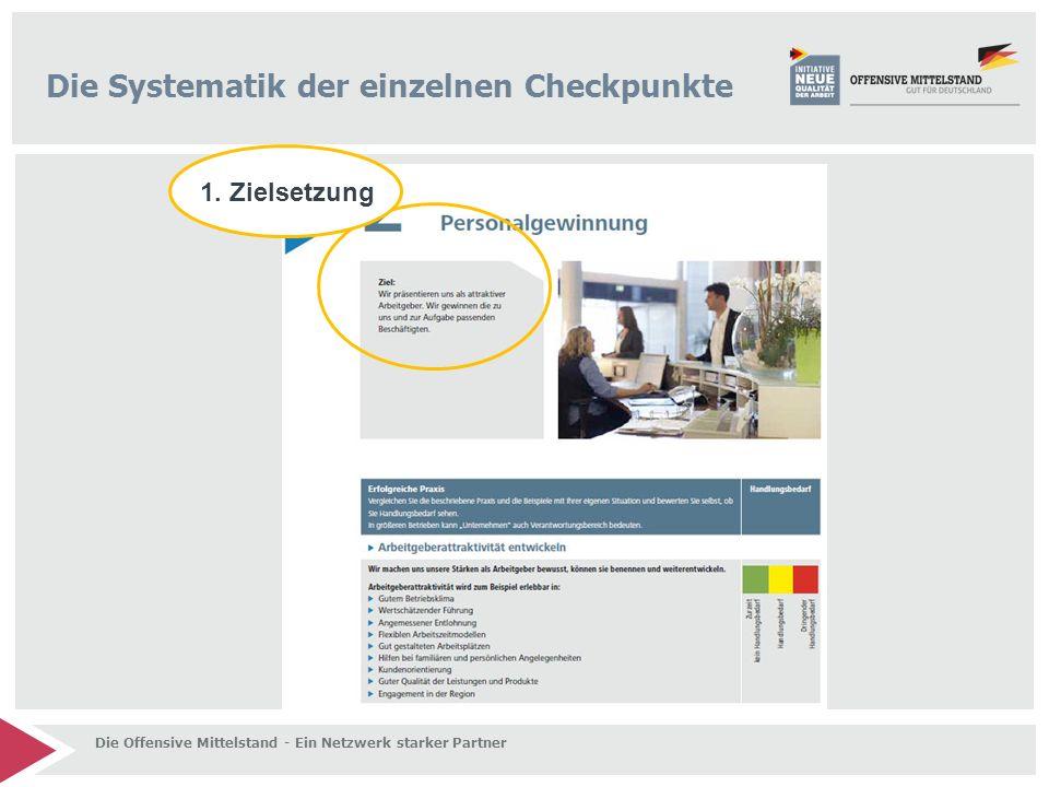 Die Systematik der einzelnen Checkpunkte 1. Zielsetzung Die Offensive Mittelstand - Ein Netzwerk starker Partner