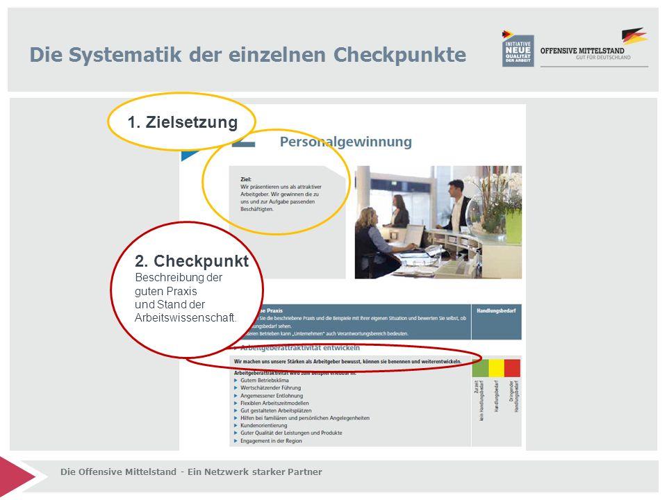 Die Systematik der einzelnen Checkpunkte 2. Checkpunkt Beschreibung der guten Praxis und Stand der Arbeitswissenschaft. 1. Zielsetzung Die Offensive M