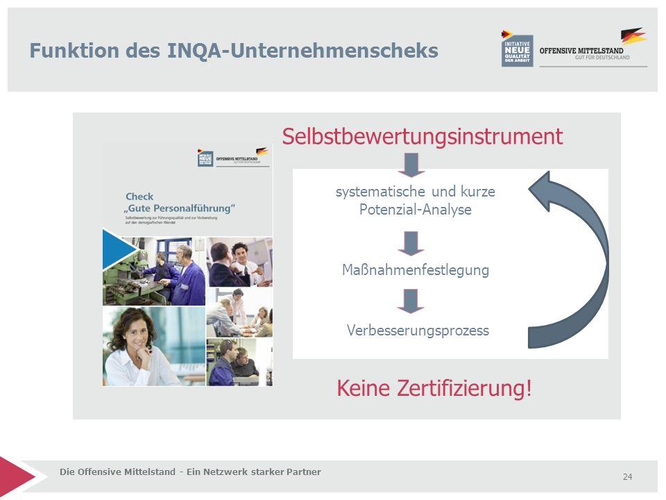 24 Funktion des INQA-Unternehmenscheks Die Offensive Mittelstand - Ein Netzwerk starker Partner Selbstbewertungsinstrument Keine Zertifizierung! syste