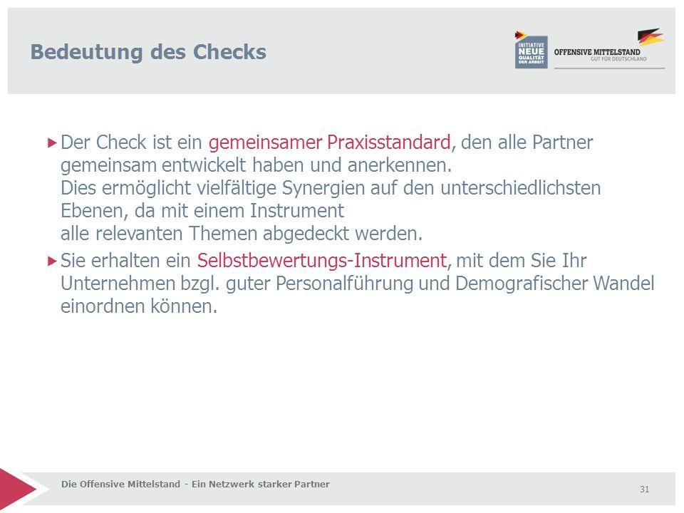  Der Check ist ein gemeinsamer Praxisstandard, den alle Partner gemeinsam entwickelt haben und anerkennen. Dies ermöglicht vielfältige Synergien auf