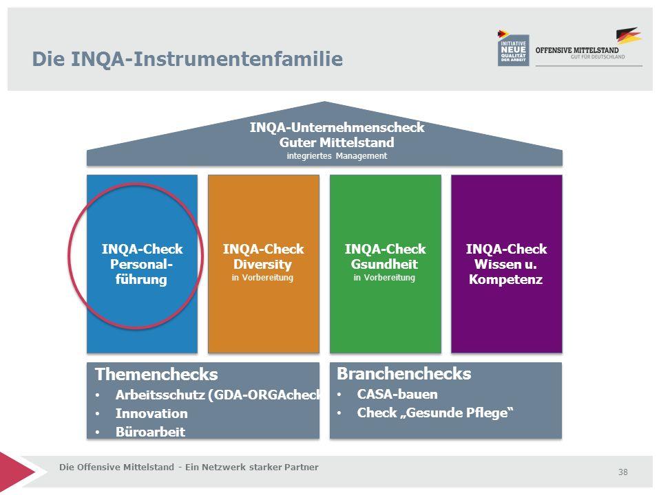 38 INQA-Check Personal- führung INQA-Check Wissen u. Kompetenz INQA-Check Gsundheit in Vorbereitung INQA-Check Diversity in Vorbereitung INQA-Unterneh