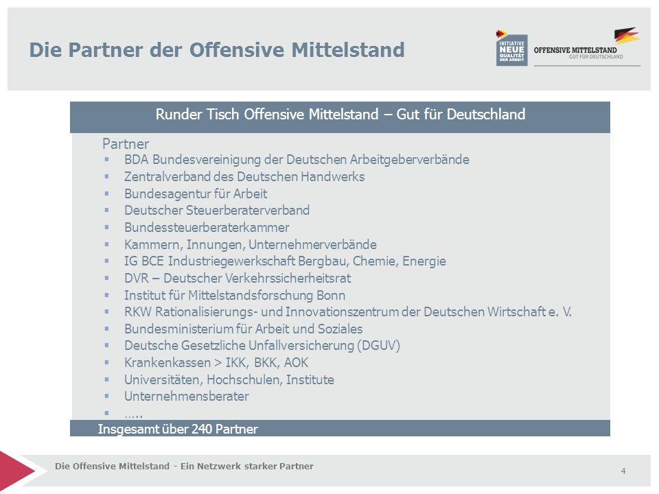 4 Die Partner der Offensive Mittelstand Insgesamt über 240 Partner  BDA Bundesvereinigung der Deutschen Arbeitgeberverbände  Zentralverband des Deut