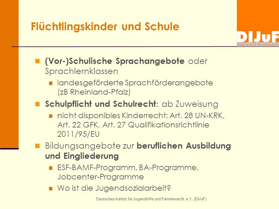 Flüchtlingskinder und Schule (Vor-)Schulische Sprachangebote oder Sprachlernklassen landesgeförderte Sprachförderangebote (zB Rheinland-Pfalz) Schulpf