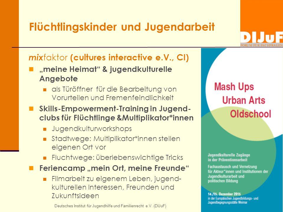 """Flüchtlingskinder und Jugendarbeit mix faktor (cultures interactive e.V., CI) """"meine Heimat"""" & jugendkulturelle Angebote als Türöffner für die Bearbei"""