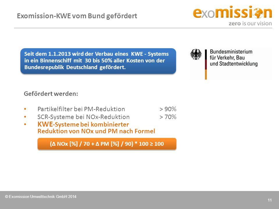 © Exomission Umwelttechnik GmbH 2014 11 Gefördert werden: Partikelfilter bei PM-Reduktion > 90% SCR-Systeme bei NOx-Reduktion> 70% KWE -Systeme bei ko