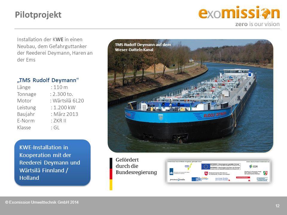 © Exomission Umwelttechnik GmbH 2014 12 Pilotprojekt Installation der KWE in einen Neubau, dem Gefahrguttanker der Reederei Deymann, Haren an der Ems