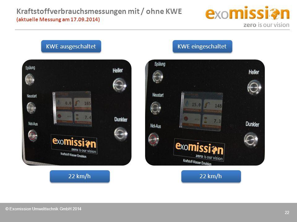 © Exomission Umwelttechnik GmbH 2014 22 Kraftstoffverbrauchsmessungen mit / ohne KWE (aktuelle Messung am 17.09.2014) 22 km/h KWE ausgeschaltet KWE ei