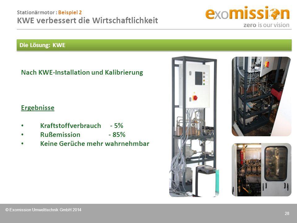 © Exomission Umwelttechnik GmbH 2014 28 Nach KWE-Installation und Kalibrierung Die Lösung: KWE Ergebnisse Kraftstoffverbrauch - 5% Rußemission- 85% Ke