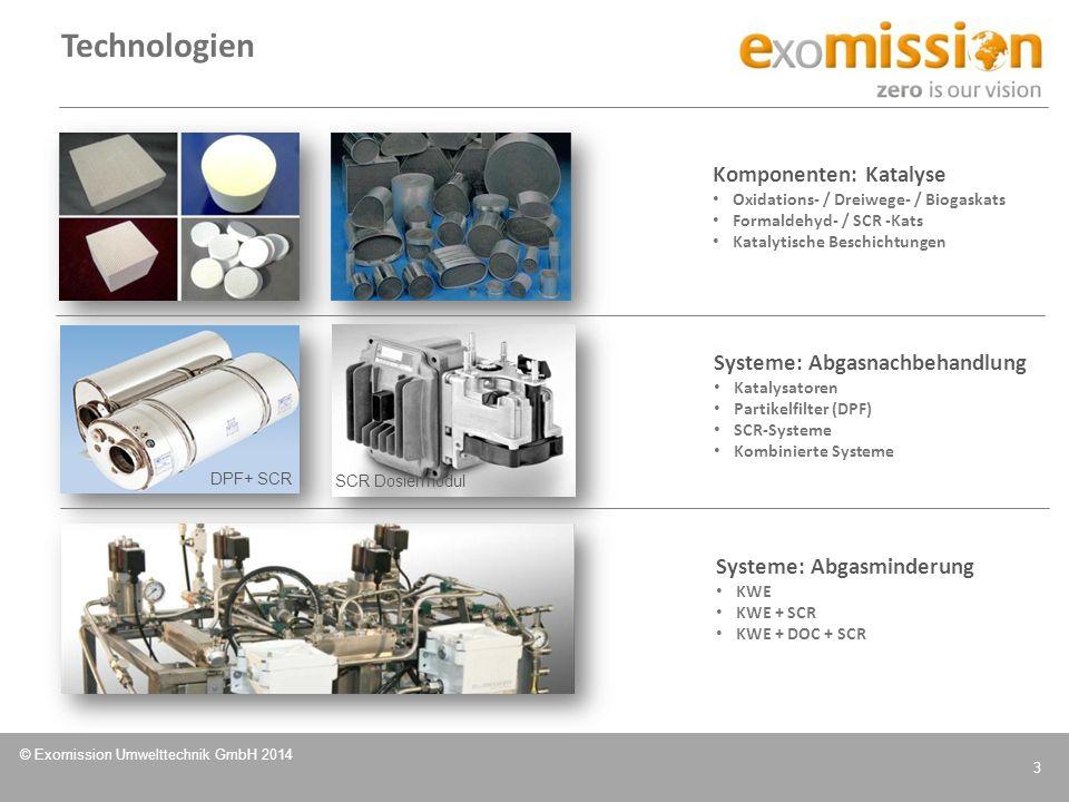 © Exomission Umwelttechnik GmbH 2014 3 Technologien Komponenten: Katalyse Oxidations- / Dreiwege- / Biogaskats Formaldehyd- / SCR -Kats Katalytische B