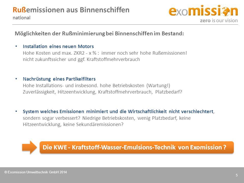 © Exomission Umwelttechnik GmbH 2014 5 Möglichkeiten der Rußminimierung bei Binnenschiffen im Bestand: Installation eines neuen Motors Hohe Kosten und