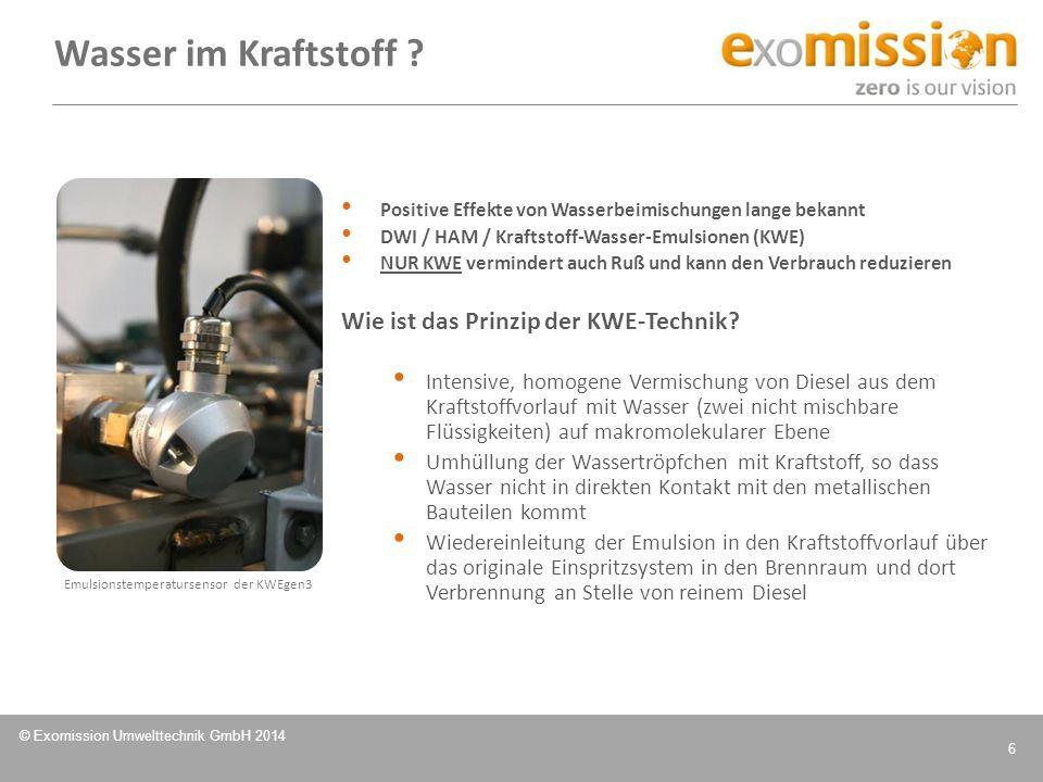 © Exomission Umwelttechnik GmbH 2014 6 Positive Effekte von Wasserbeimischungen lange bekannt DWI / HAM / Kraftstoff-Wasser-Emulsionen (KWE) NUR KWE v