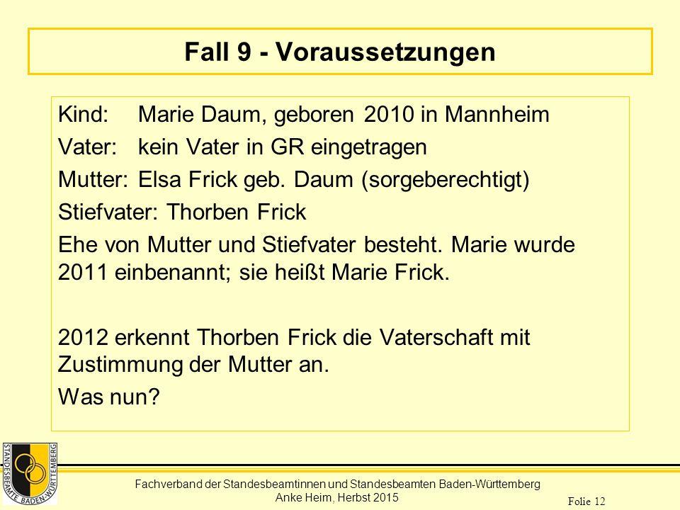 Fachverband der Standesbeamtinnen und Standesbeamten Baden-Württemberg Anke Heim, Herbst 2015 Folie 12 Fall 9 - Voraussetzungen Kind: Marie Daum, gebo