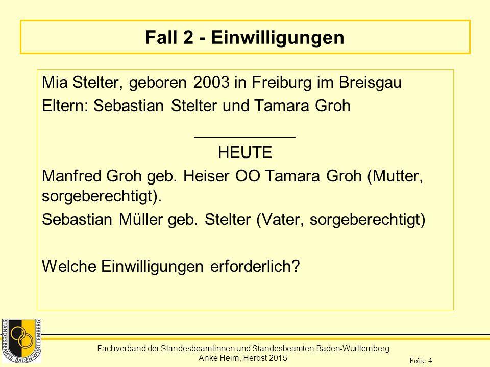 Fachverband der Standesbeamtinnen und Standesbeamten Baden-Württemberg Anke Heim, Herbst 2015 Folie 4 Fall 2 - Einwilligungen Mia Stelter, geboren 200
