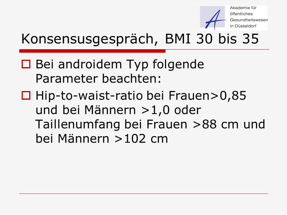 Konsensusgespräch, BMI 30 bis 35  Bei androidem Typ folgende Parameter beachten:  Hip-to-waist-ratio bei Frauen>0,85 und bei Männern >1,0 oder Taill