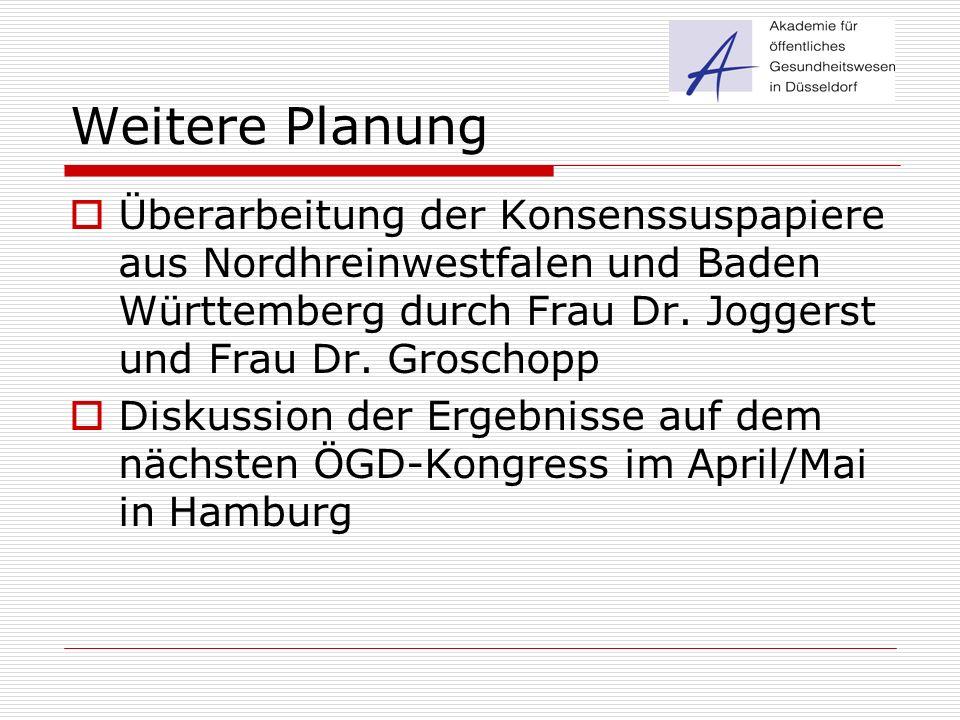Weitere Planung  Überarbeitung der Konsenssuspapiere aus Nordhreinwestfalen und Baden Württemberg durch Frau Dr. Joggerst und Frau Dr. Groschopp  Di