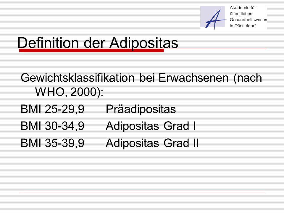 Definition der Adipositas Gewichtsklassifikation bei Erwachsenen (nach WHO, 2000): BMI 25-29,9 Präadipositas BMI 30-34,9Adipositas Grad I BMI 35-39,9A