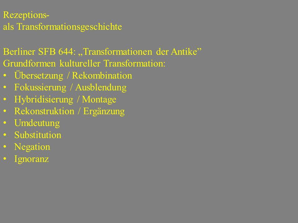 """Berliner SFB 644: """"Transformationen der Antike"""" Grundformen kultureller Transformation: Übersetzung / Rekombination Fokussierung / Ausblendung Hybridi"""