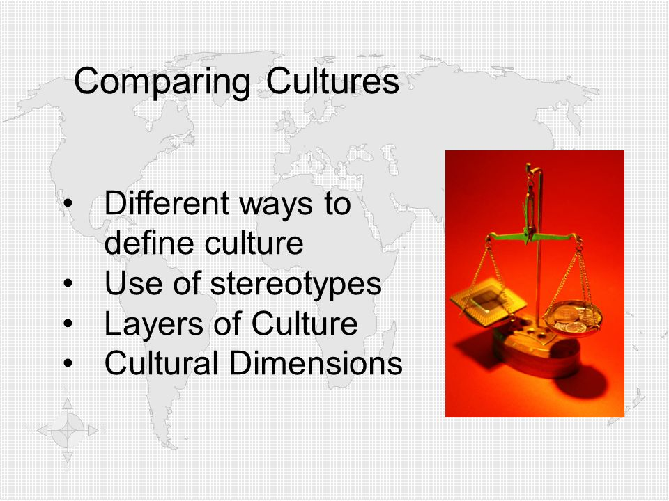 Comparing Cultures Different ways to define culture Use of stereotypes Layers of Culture Cultural Dimensions