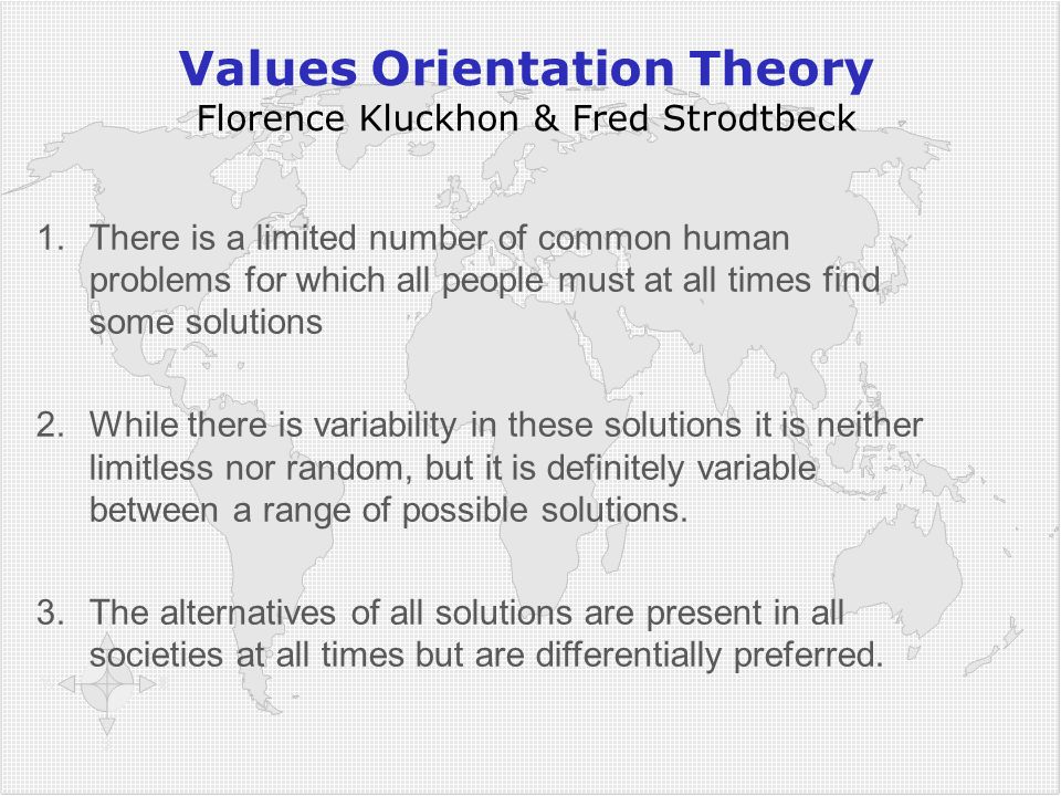 Values Orientation Theory Florence Kluckhon & Fred Strodtbeck 1.There is a limited number of common human problems for which all people must at all times find some solutions 2.While there is variability in these solutions it is neither limitless nor random, but it is definitely variable between a range of possible solutions.