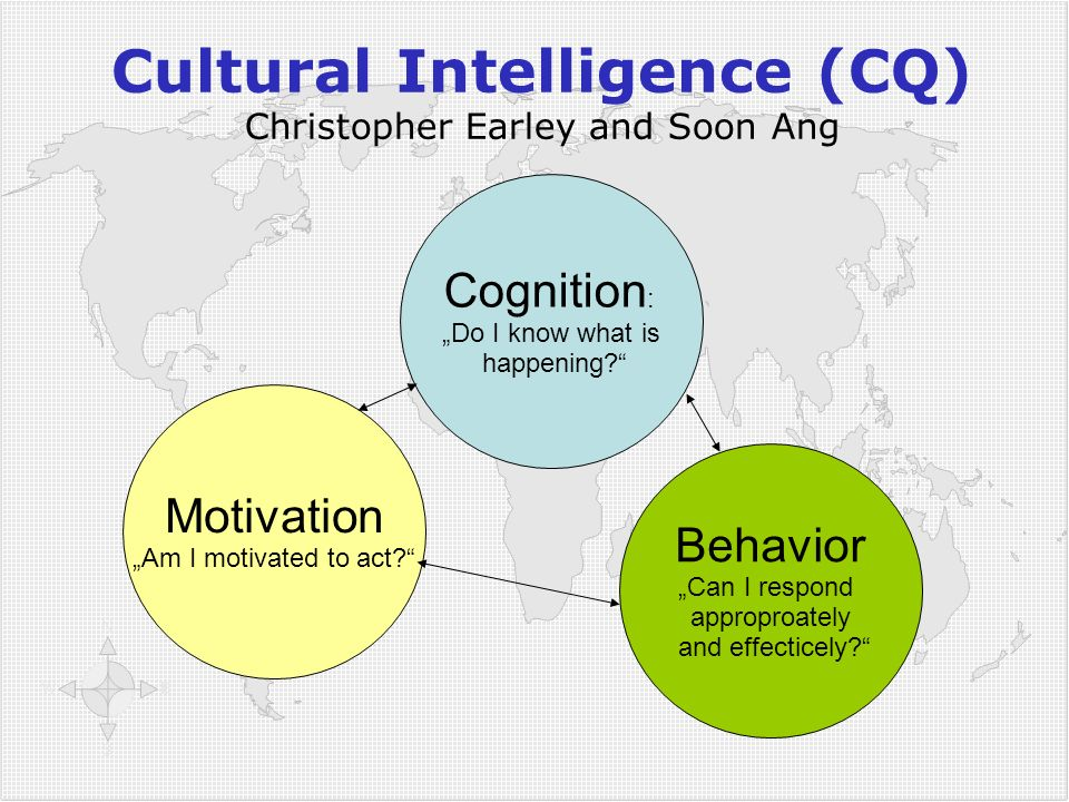 "Behavior ""Can I respond approproately and effecticely?"" Motivation ""Am I motivated to act?"" Cognition : ""Do I know what is happening?"" Cultural Intell"