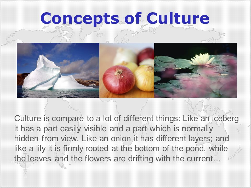 Concepts of Culture Culture is compare to a lot of different things: Like an iceberg it has a part easily visible and a part which is normally hidden